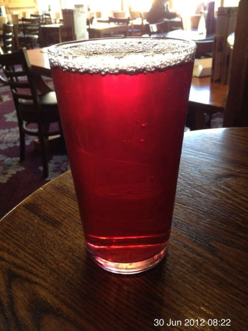 A pint of Cranberry juice